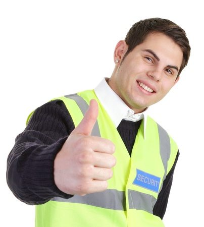 hand guards: A security guard with  a thumbs up sign Stock Photo