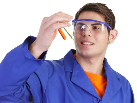 A lab worker looking at test tubes Stock Photo - 11235796