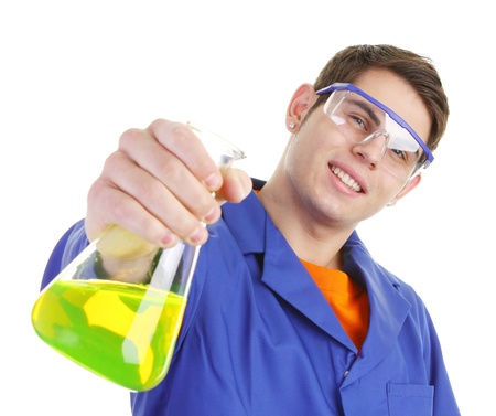 labratory: A scientist with a chemical reaction in a flask Stock Photo