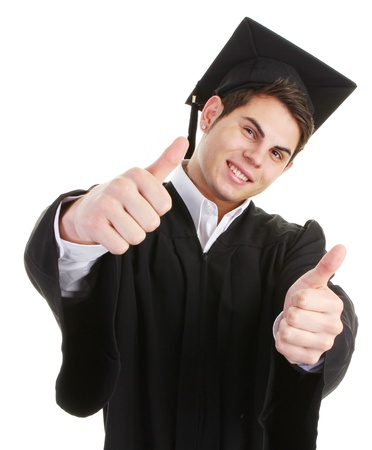 A graduate with both thumbs up Stock Photo