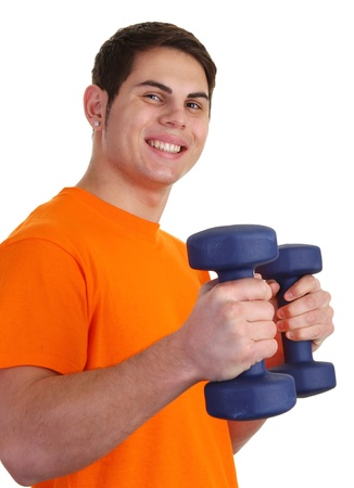 A guy with dumbells smiling with an orange shirt photo