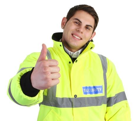 guardia de seguridad: Un guardia de seguridad con un pulgar hacia arriba signo