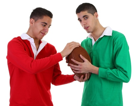 two guys with rugby ball Stock Photo - 11324048