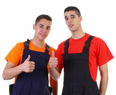 Two decorators with thumbs up sign Stock Photo - 11324068