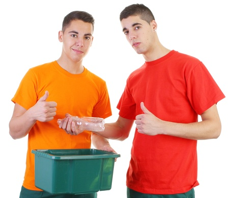 two guys recycling plastic bottle photo