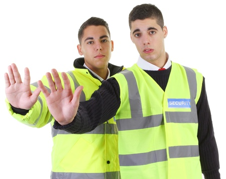 hand guards: Two security guards with their hands out Stock Photo