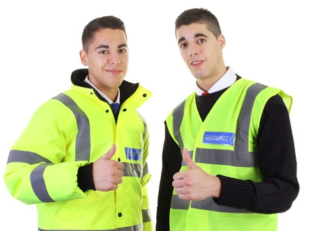 hand guard: Two security guards with a thumbs up