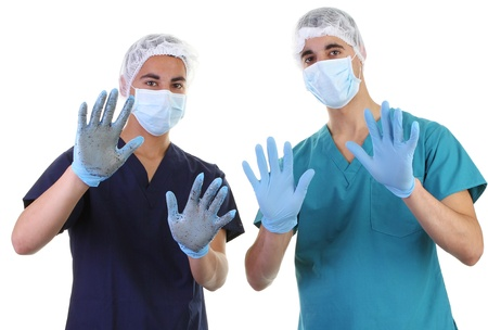 Dirty and clean hands on different doctors photo