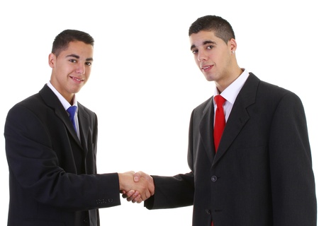 Two businessmen meeting with a handshake photo