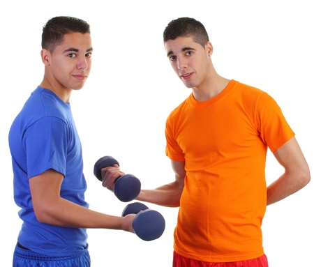 Two weightlifters one in orange and the other in blue photo