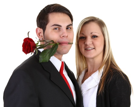 A guy with a rose in his mouth Stock Photo - 11773020