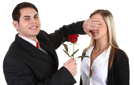 A couple with a rose on valentines day. photo