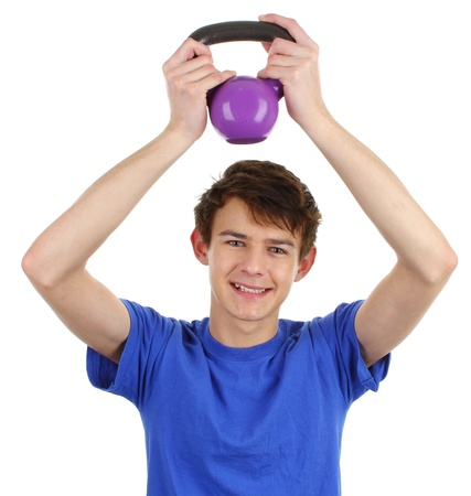 A happy guy wearing a blue shirt working out Stock Photo - 11773319