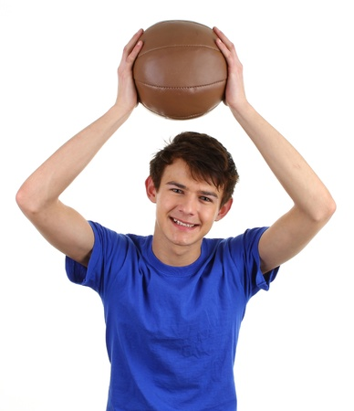 A guy with a training or medicene ball photo