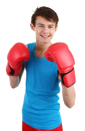 A guy wearing boxing gloves isolated on white