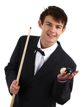 snooker room: A guy holding a snooker cue and two balls isolated on white.