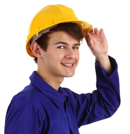 Close up of a construction worker with a hard hat, isolated on white photo