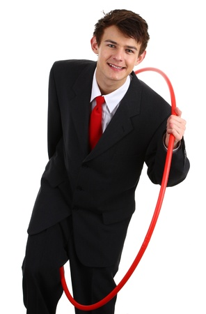 A businessman going through a hoop to show challenges, isolated on white photo