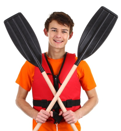 A guy with crossed oars, isolated on white Stock Photo - 12165479