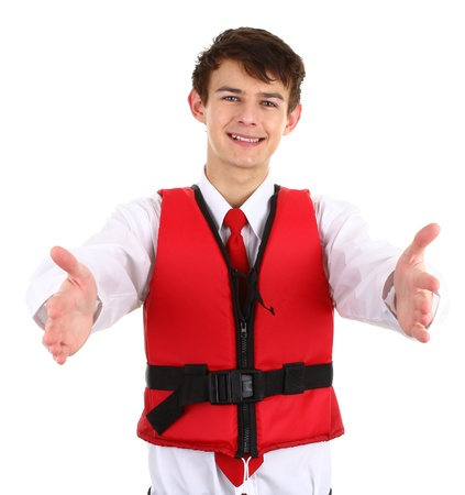 An air steward with a life jacket