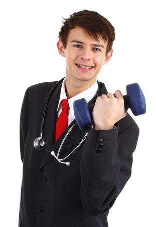 Doctor with dumbell photo
