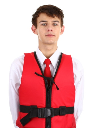 An air stewardess with a life jacket Stock Photo - 12504211