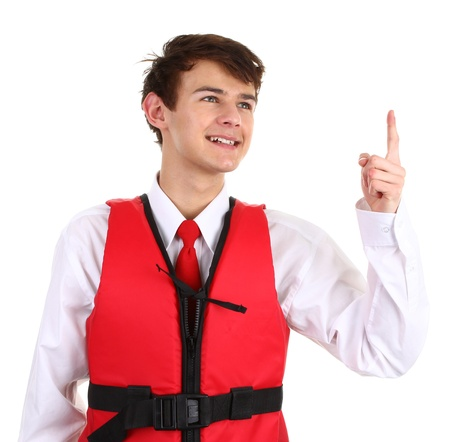 An air stewardess with a life jacket, isolated on white Stock Photo - 12504217