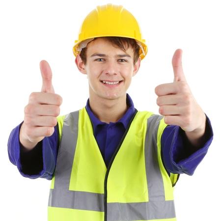 seguridad e higiene: Los pulgares para arriba de los trabajadores, aislados en blanco. Foto de archivo