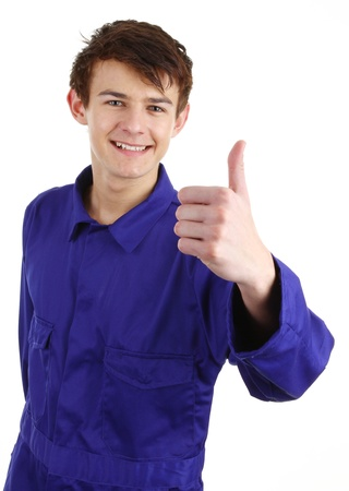 A worker with a thumbs up sign photo