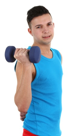A guy with a dumbell, isolated on white Stock Photo - 12504253