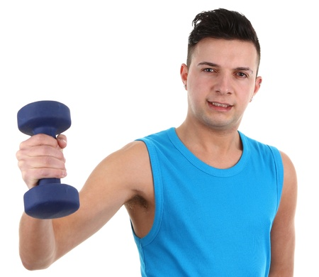 A guy with a dumbell, isolated on white Stock Photo - 12504255