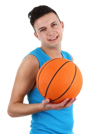 A guy with a basketball, isolated on white Stock Photo - 12504254