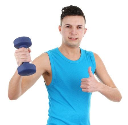 Guy with dumbell, isolated on white Stock Photo - 12504263