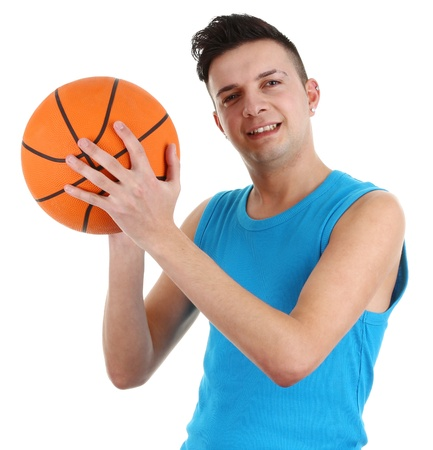 A guy with a basketball, isolated on white Stock Photo - 12504271