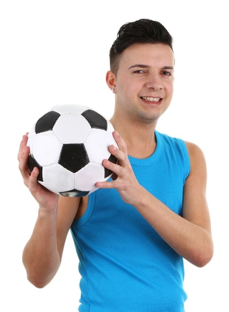 A guy with a football, isolated on white Stock Photo - 12504261
