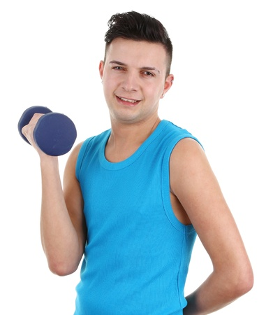 Guy with dumbell, isolated on white Stock Photo - 12504273