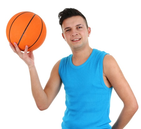 A guy with a basketball, isolated on white photo