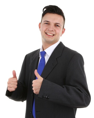 A guy with a thumbs up sign, isolated on white Stock Photo - 12504298
