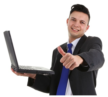 A guy with a thumbs up sign and a laptop photo