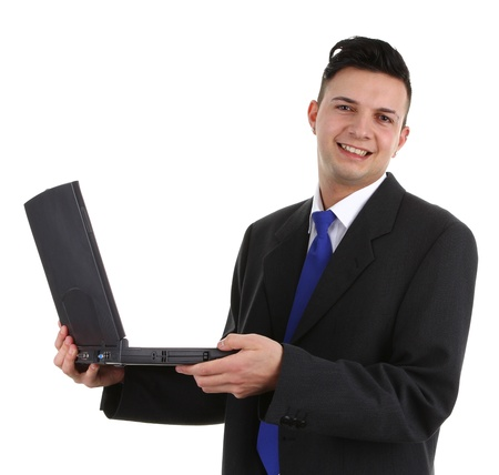 man's thumb: A happy guy with a laptop, isolated on white