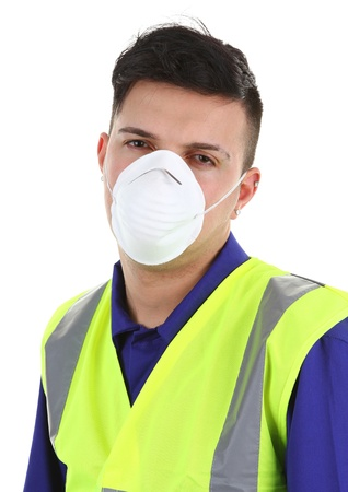 A guy wearing a dust mask, isolated on white photo