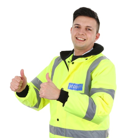 success security: A security guard with a thumbs up sign Stock Photo