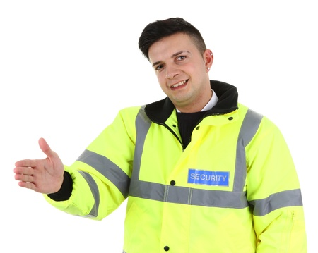 A security guard offering a handshake, isolated on white Stock Photo - 12801478