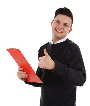 A security guard with a thumbs up sign and a clipboard, isolated on white photo