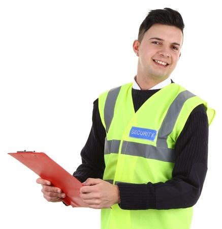 guardia de seguridad: Un guardia de seguridad con un sujetapapeles, aislado en blanco