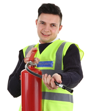 security vest: A security guard with a fire extinguisher, isolated on white