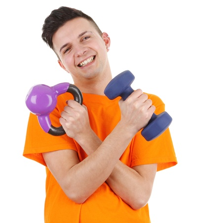 A guy with weights, isolated on white Stock Photo - 12801686