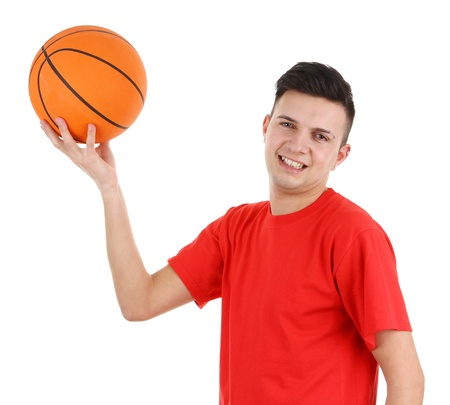 A guy in a red shirt with a basketball, isolated on white photo