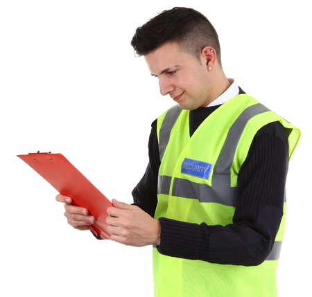 A security guard with a red clipboard Stock Photo - 12801718