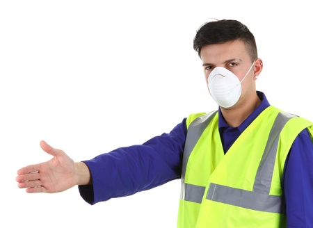 dust mask: A guy wearing a dust mask, isolated on white